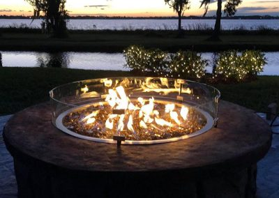 Artisan Stone Creations - Fire Pit Lit at Dusk