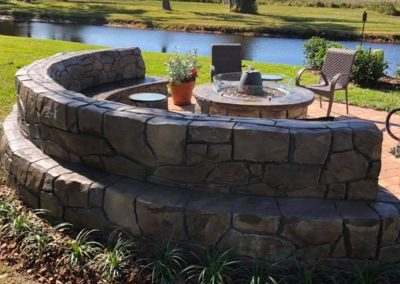 Artisan Stone Creations - Crescent Bench and Fire Pit